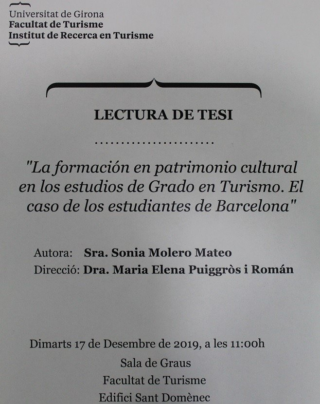 READING THE DOCTORAL THESIS OF THE TEACHER OF EU MEDITERRANI SONIA MOLERO
